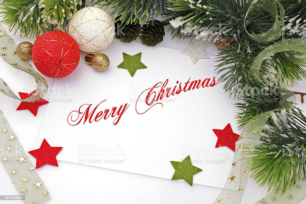Christmas card in red,green and silver royalty-free stock photo