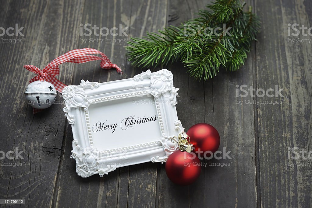Christmas card in rustic frame royalty-free stock photo