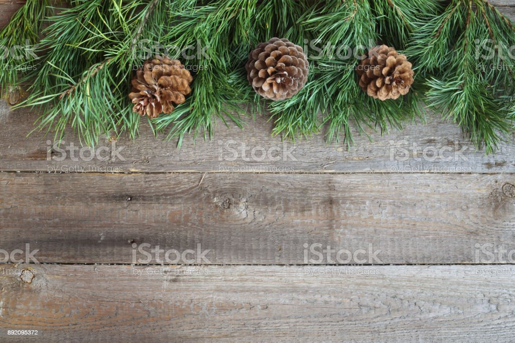 Christmas card on wooden background stock photo