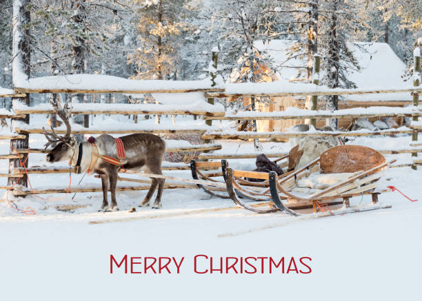 Weihnachtskarte, RederSchlitten wartet auf Den Weihnachtsmann im Winter, Text Frohe Weihnachten – Foto
