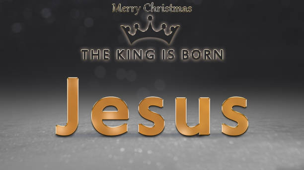 weihnachtskarte, fromme abbildung mit des königs krone und jesus, der könig wird geboren, frohe weihnachten text - zitate weihnachten stock-fotos und bilder
