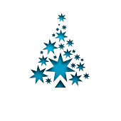 Christmas card. Tree design. Blue stars