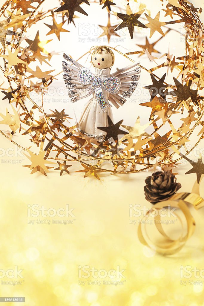 Christmas card with angel royalty-free stock photo