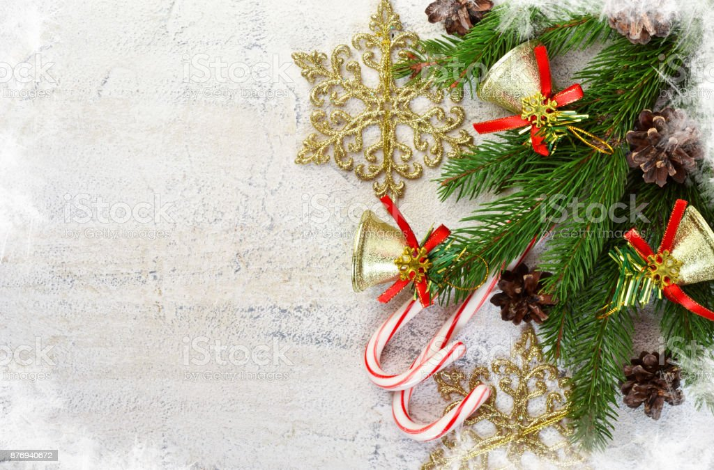 Christmas card with decor and space for text. stock photo