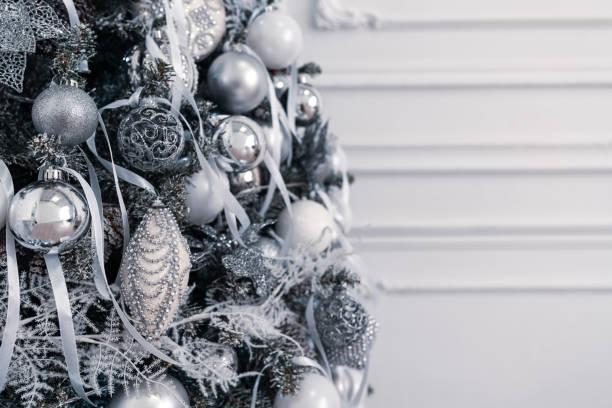 Christmas card with decorated xmas tree stock photo