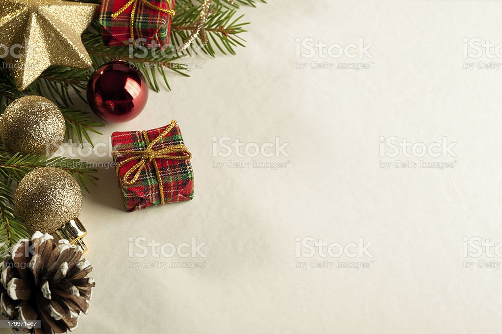 Christmas card with decorations royalty-free stock photo