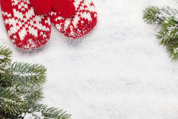 christmas card with fir tree and mittens - mitene imagens e fotografias de stock