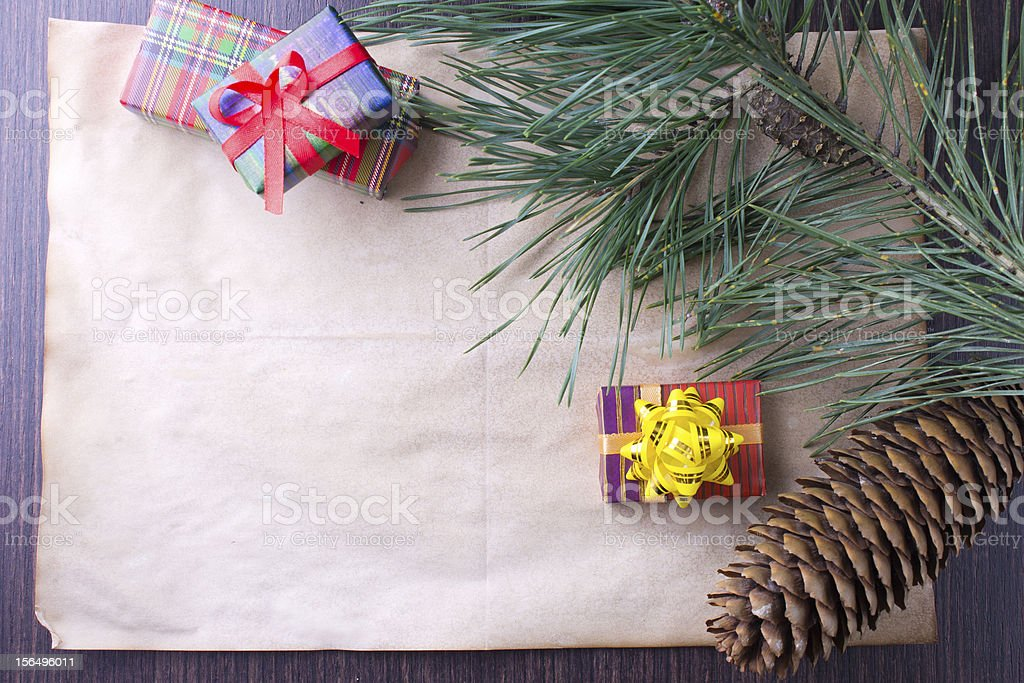 Christmas card with gifts and tree royalty-free stock photo