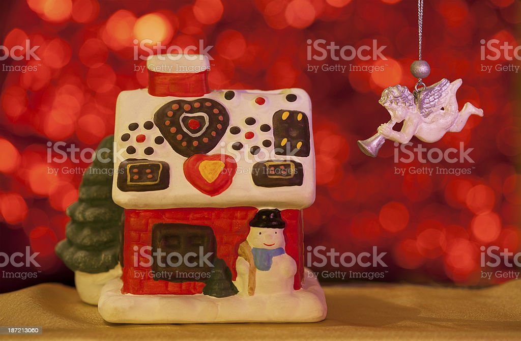 christmas card with house and angel stock photo