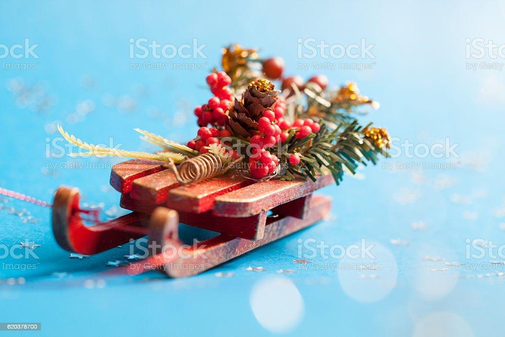 Christmas card with shine silver star and decorative sled. zbiór zdjęć royalty-free