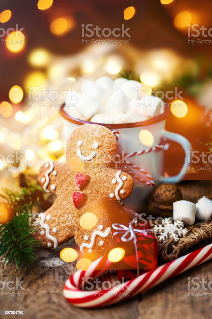 Christmas Card with vintage mug, hot cocoa, marshmallow with xmas holiday decorations stock photo