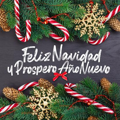 "Christmas card with wishes words in Spanish ""Merry Christmas and a happy new year!"" (Feliz navidad y prospero año nuevo)."