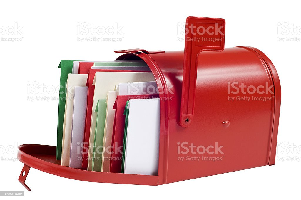 Christmas Cards Filling Mailbox royalty-free stock photo