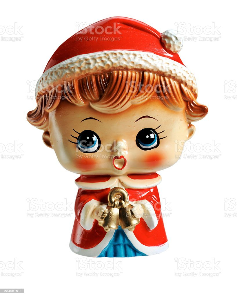 Christmas Caroler Figurine stock photo