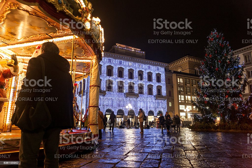 Christmas carousel in piazza della Repubblica stock photo