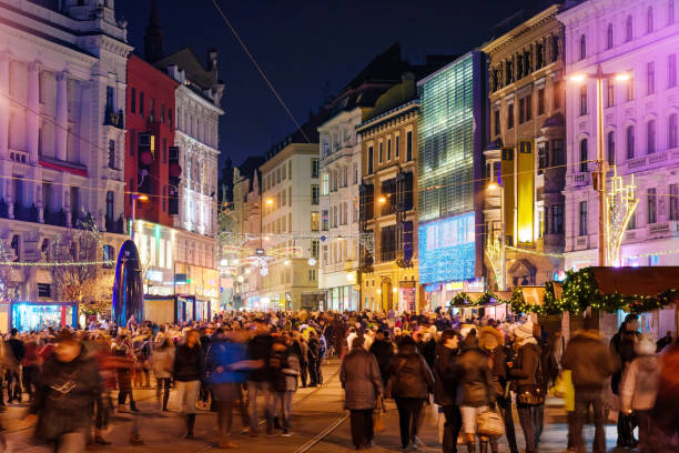 Christmas celebration in Brno in the evening. Brno, Czech Republic - December 4, 2016: Christmas celebration in old town of Brno, Czech Republic in the evening on December 4, 2016 Brno, Czech Republic brno stock pictures, royalty-free photos & images