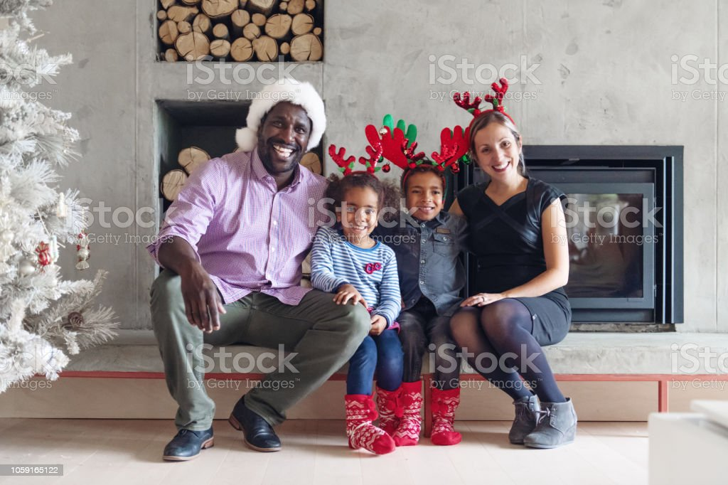 Christmas celebration with family and friends stock photo