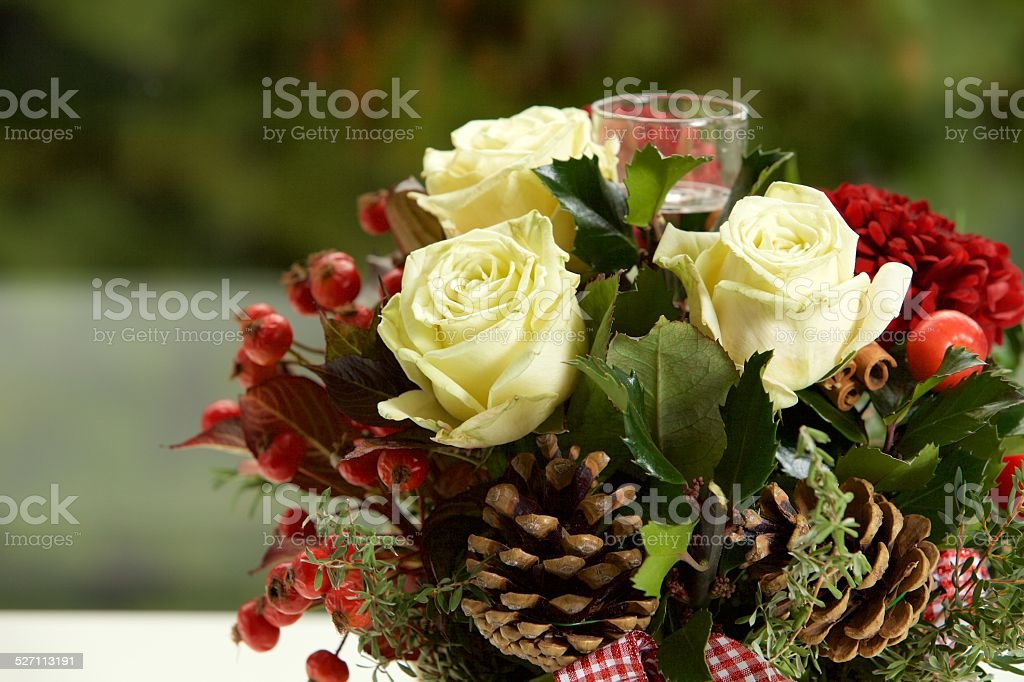 Christmas Centerpiece with Flowers stock photo