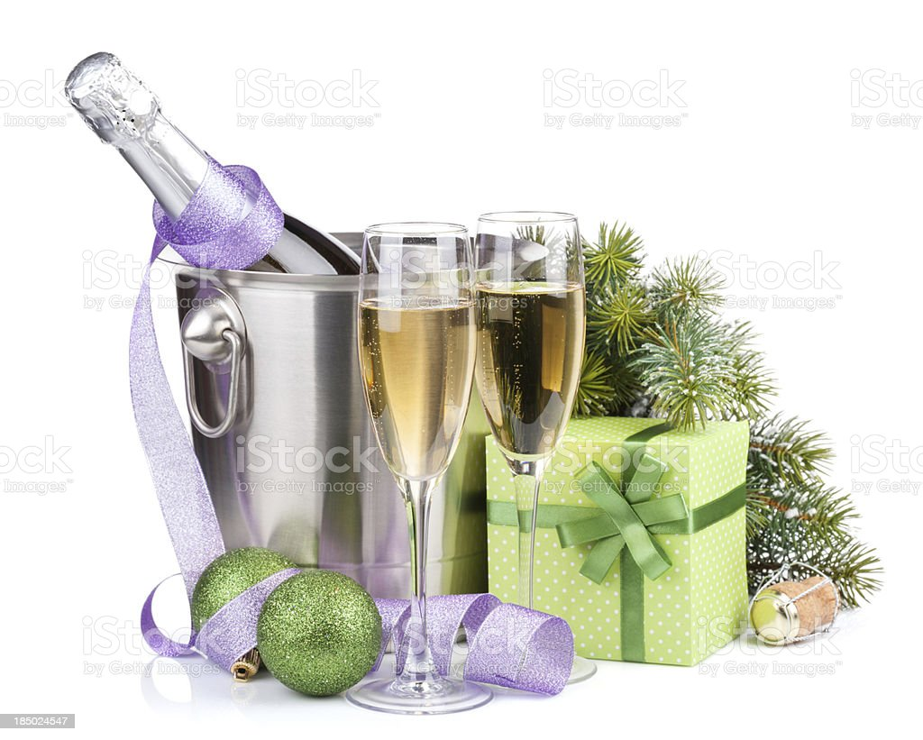 Christmas champagne in bucket and gift box royalty-free stock photo