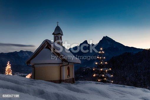 Lockstein Chapel in Berchtesgaden at Christmas.