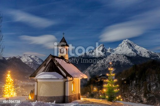 Chapel at Lockstein in Berchtesgaden at Christmas.