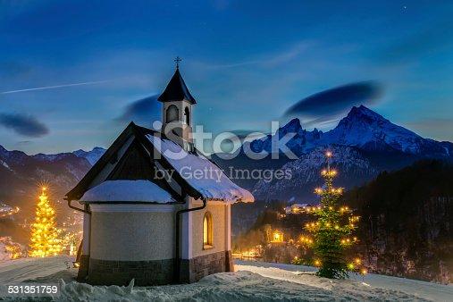 Chapel in Berchtesgaden at Christmas.