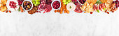 istock Christmas charcuterie top border against a white marble banner background 1282334168