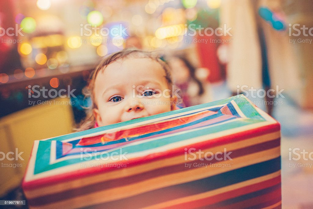 Christmas child stock photo