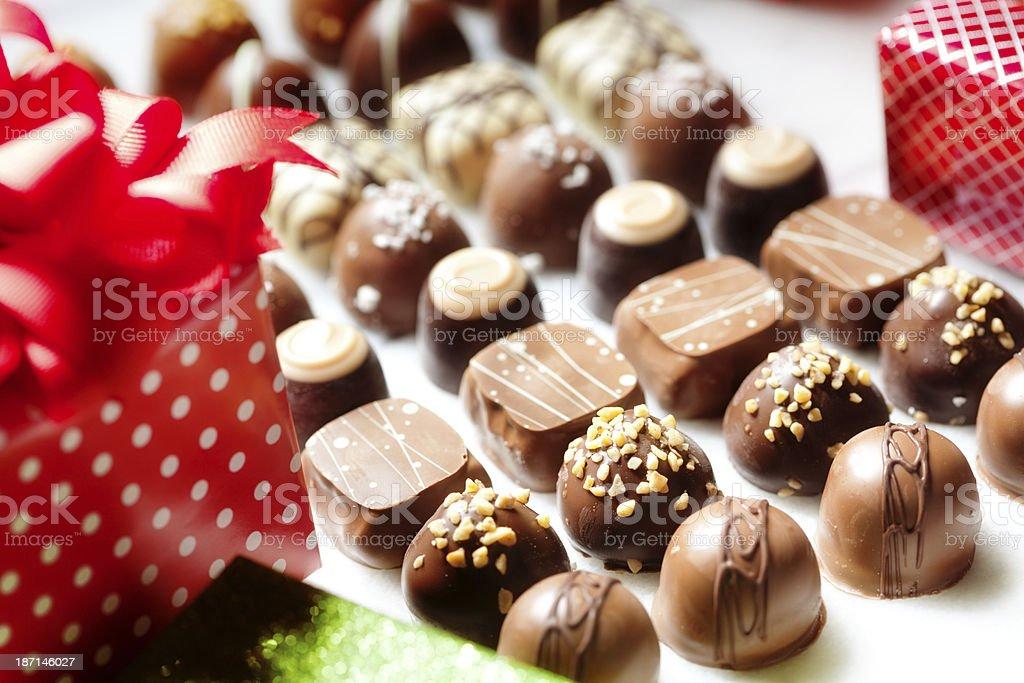 christmas chocolate candy gift box horizontal royalty free stock photo