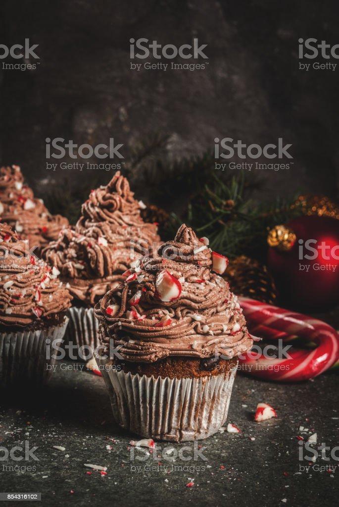 Christmas chocolate peppermint cupcakes stock photo