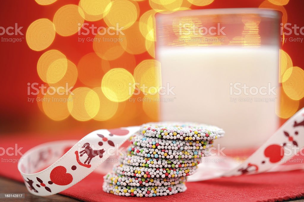 Christmas chocolates with a glass milk royalty-free stock photo