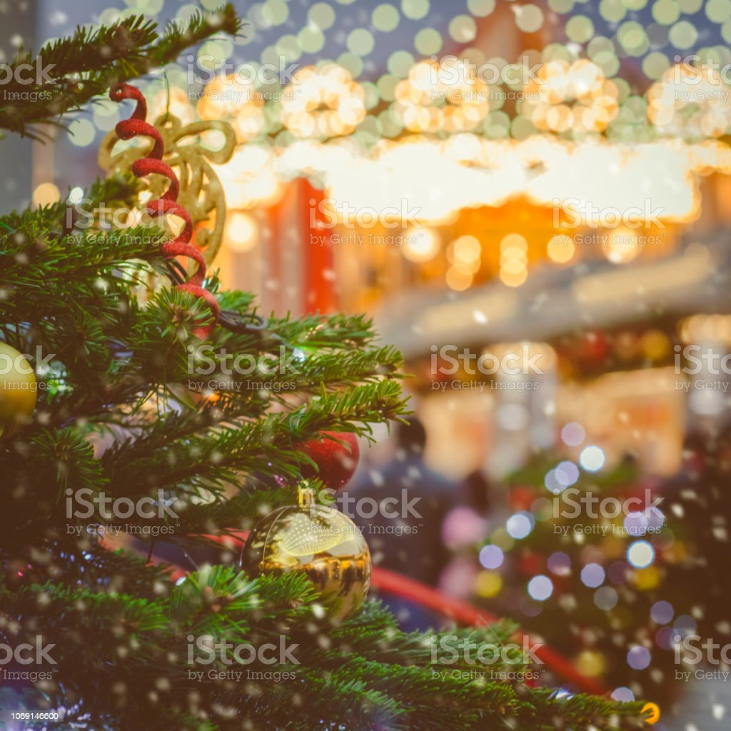Christmas cityscape background stock photo