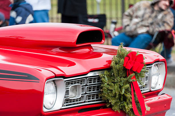 Christmas classic muscle car - foto stock