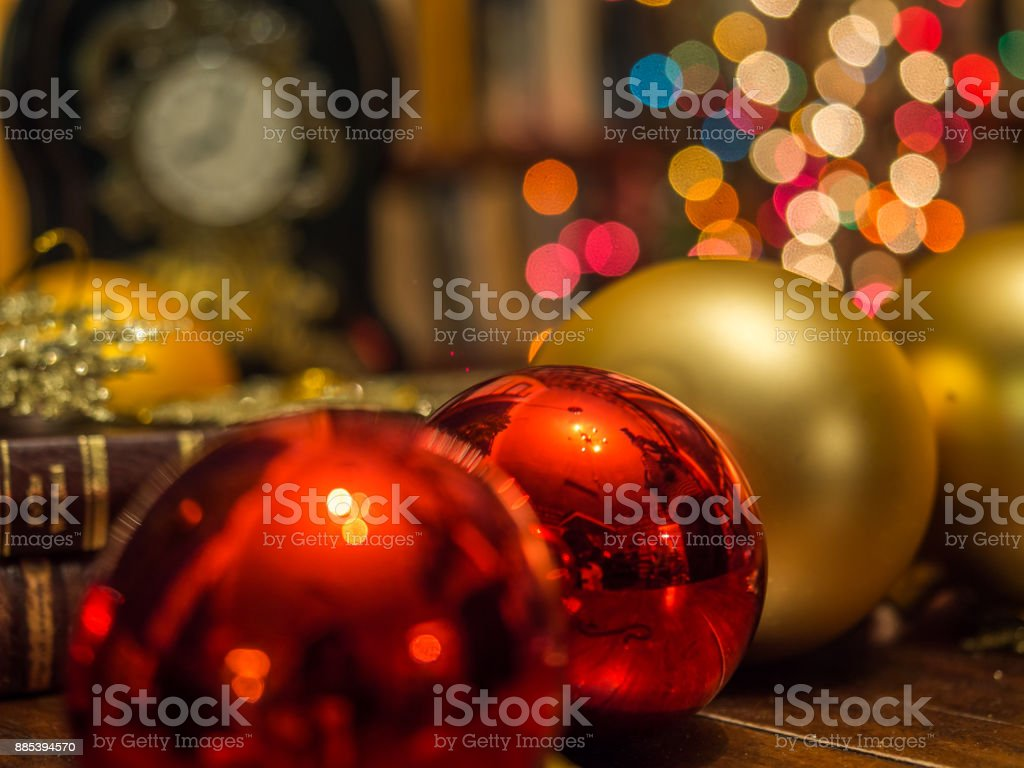 Christmas clock  in the library stock photo
