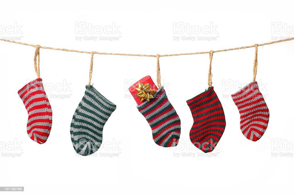 Christmas clothesline stock photo