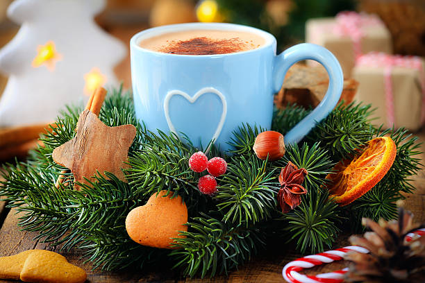 Christmas Coffee And Festive Wreath Stock Photo Download