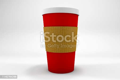 Red paper coffee glass on white background. Caffeine and health. Cafe culture in Christmas.
