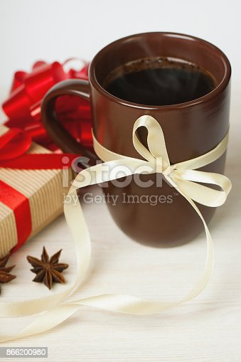 istock christmas coffee with presents 866200980