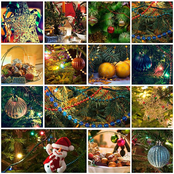 weihnachten collage. - foto collage geschenk stock-fotos und bilder