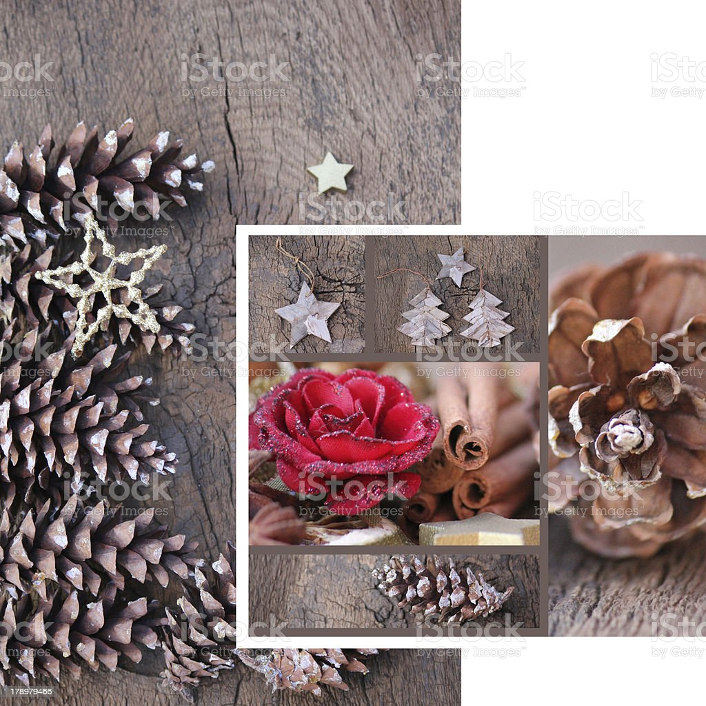 Christmas Collage Pinecone royalty-free stock photo