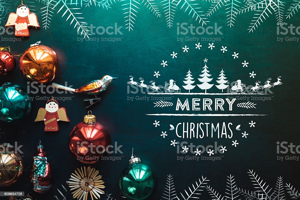 christmas collage with decoration on chalkboard and line illustration stock photo