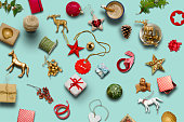 Christmas collection, gifts and decorative ornaments ... photogr