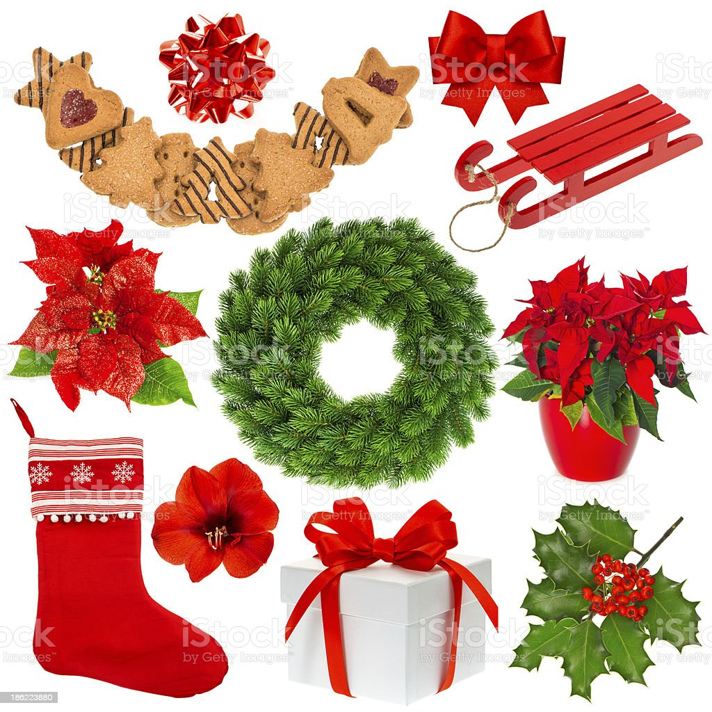 Christmas collection isolated on white background royalty-free stock photo