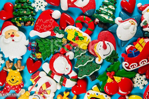 istock Christmas collection, postcard and decorative ornaments background 1173112097
