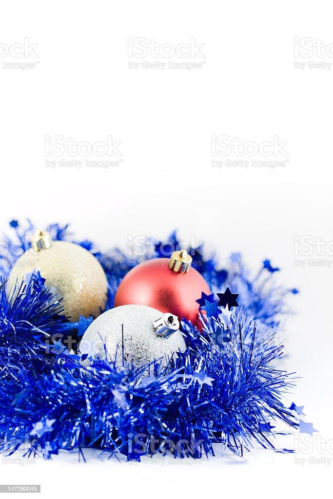 Fotografía de Bolas De Navidad De Color Azul Espumillón En ...