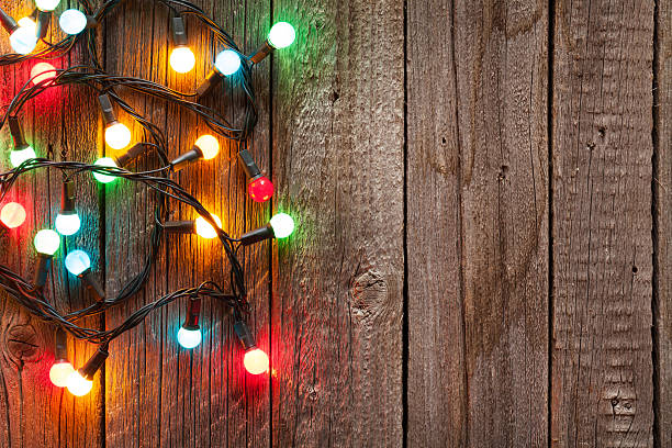 christmas colorful lights - vintage ornaments stock photos and pictures
