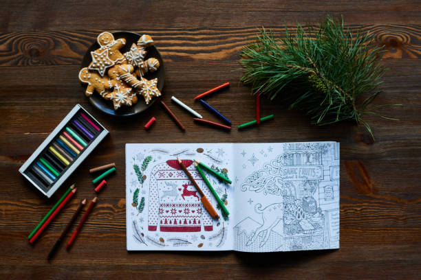 christmas coloring book - colouring book stock photos and pictures
