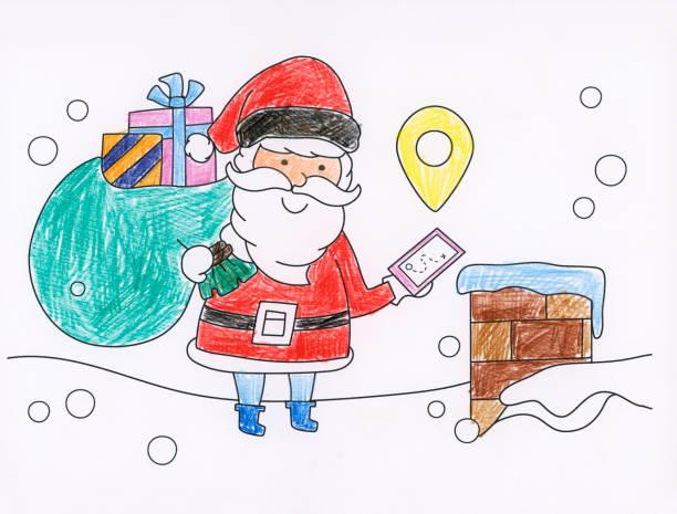 malbuch weihnachten - ausmalbilder weihnachtsmann stock-fotos und bilder