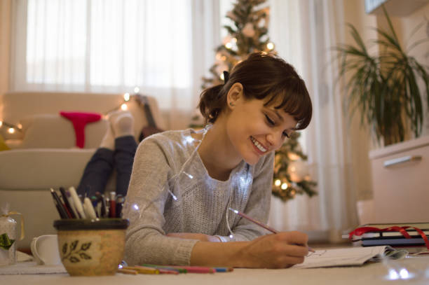 Christmas coloring time stock photo