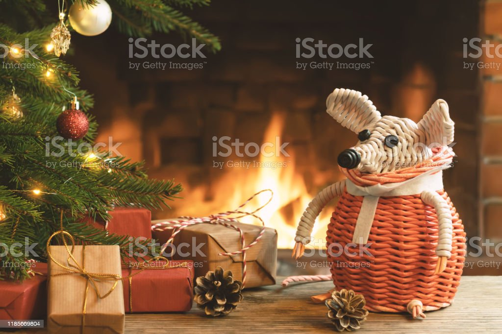 Christmas Composition A Wicker White Mouse Symbol Of 2020 According To Chinese Horoscope Next To Gifts Under Christmas Tree In Room By Fireplace Stock Photo Download Image Now Istock